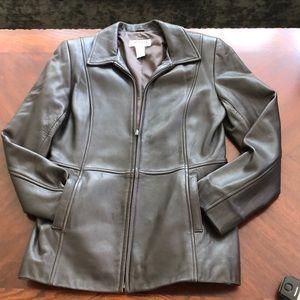 Alfani genuine dark brown leather jacket